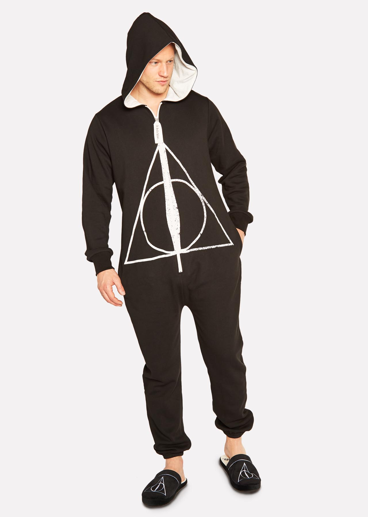 Harry Potter Deathly Hallows Mens Hooded Bath Robe Dressing Night Gown Adult