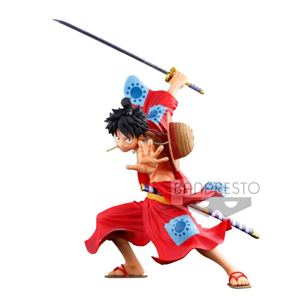 Anime One Piece Bust Wano Country Luffy Kimono 16cm LED lamp PVC Figure New