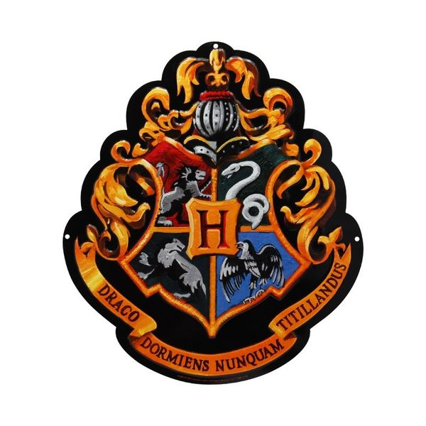 Placa Metálica Escudo Hogwarts Harry Potter