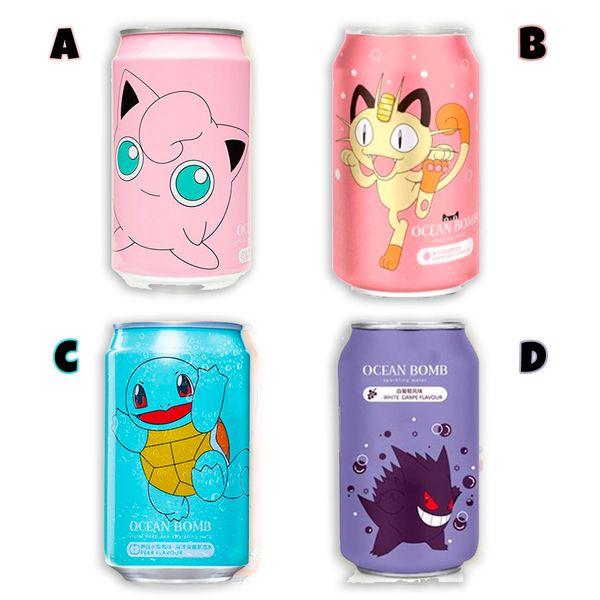 Refresco Pokemon Ocean Bomb Sparkling Water - Melocotón - Pera - Uva