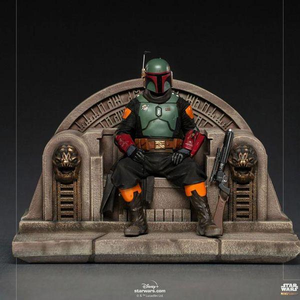 Estatua Boba Fett on Throne Star Wars The Mandalorian Deluxe Art Scale