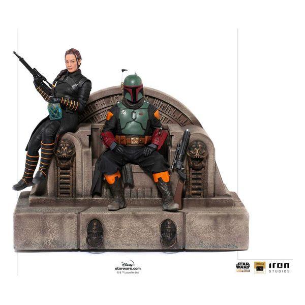 Boba Fett & Fennec on Throne Statue Star Wars The Mandalorian Deluxe Art Scale