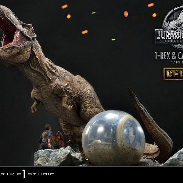 Estatua T Rex y Carnotaurus Jurassic World Fallen Kingdom Deluxe Version