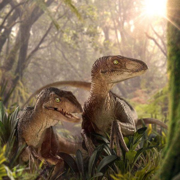 Estatua Just The Two Raptors Jurassic Park Deluxe Art Scale
