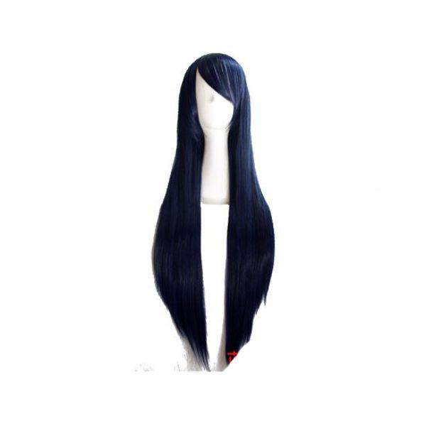Peluca Negra Azulada 80 cms
