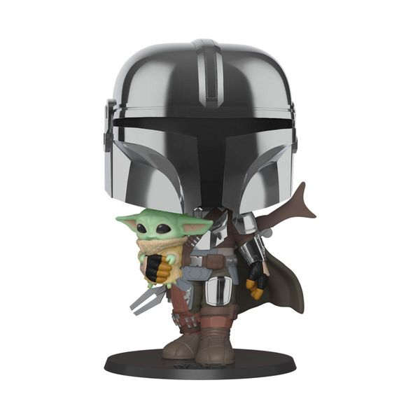 Funko The Mandalorian holding The Child Grogu Star Wars The Mandalorian Super Size POP