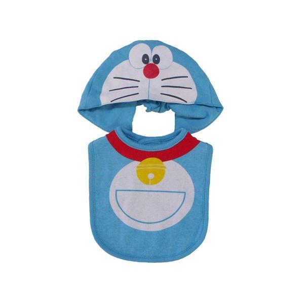 Babero y Gorrito para Bebé Doraemon