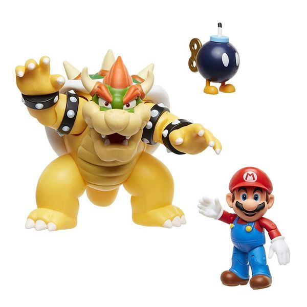 Mario VS Bowser Lava Battle Figure World of Nintendo Super Mario