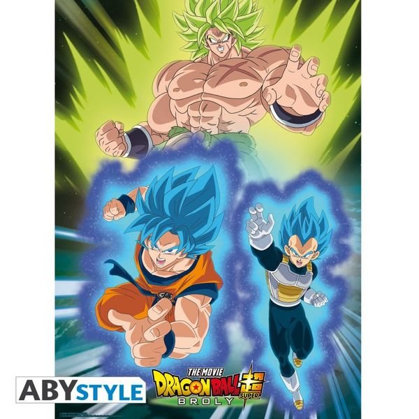 Broly Vs Goku & Vegeta Poster Dragon Ball Super 52x38cm