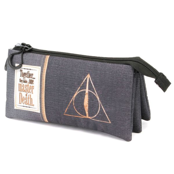 Deathly Hallows Black Triple Pencil Case Harry Potter