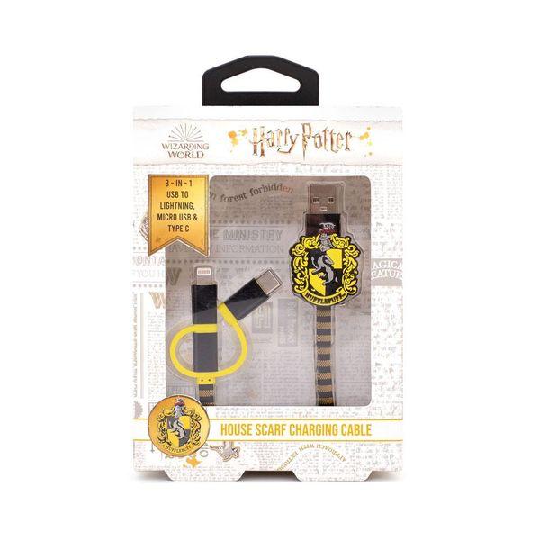 Cable de Carga Hufflepuff Bufanda Harry Potter 3in1