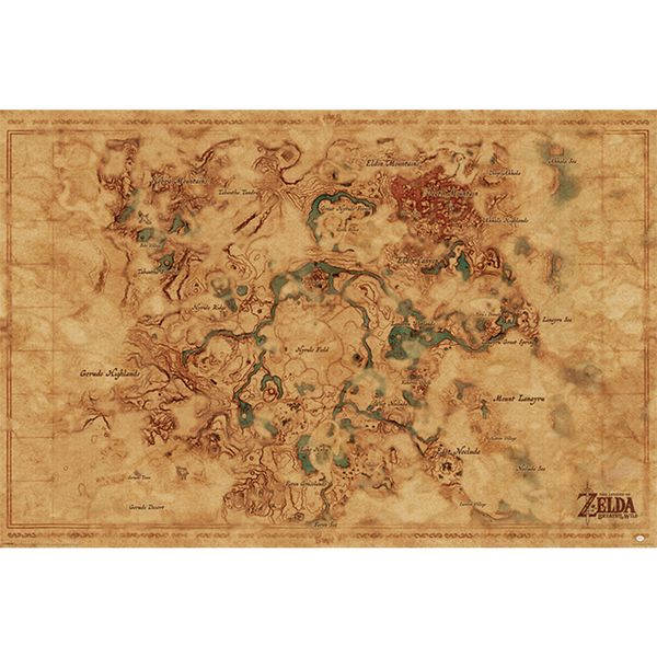 Poster The Legend of Zelda Breath Of The Wild Hyrule World Map 91,5 x 61 cms