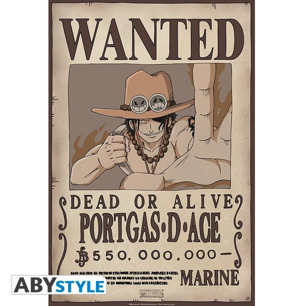 Portgas D Ace Wanted Poster One Piece 52x35