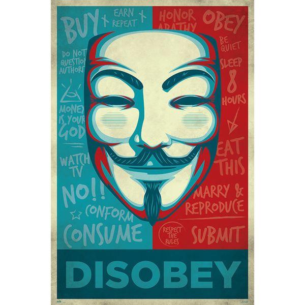 Poster Disobey V de Vendetta 91,5 x 61 cms