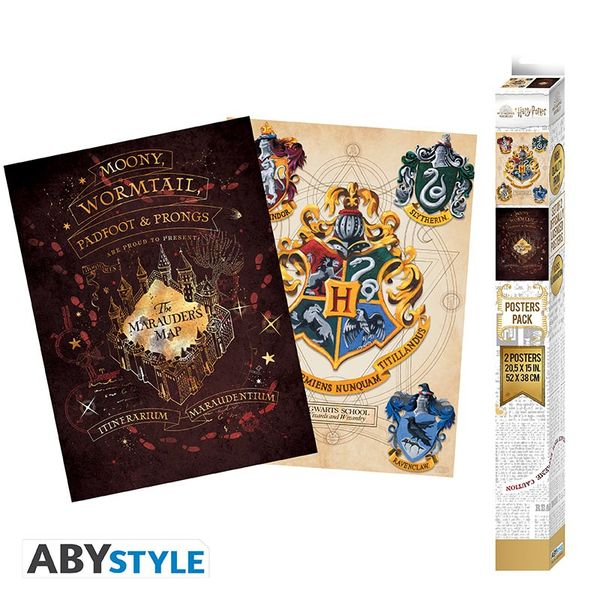 Marauders and Hogwarts Shield Poster set Harry Potter 52 x 38 cms