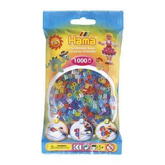 Bolsa de Hama midi mix/ mezcla de tonos translúcidos / transparentes con purpurina de 1000 piezas Nº 207-54