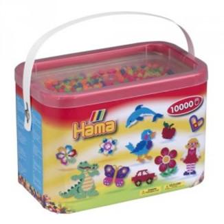 Cubo 10.000 piezas Hama Midi Mix 51 (Colores Neon)