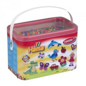 Cubo 10.000 piezas Hama Midi Mix 52 (Colores Fluroescentes)