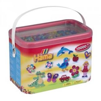 Cubo 10.000 piezas Hama Midi Mix 54 (Colores translucidos purpurina)
