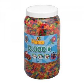 Cubo 13.000 piezas Hama Midi Mix 51 (Color Neón)