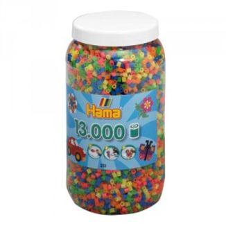 Cubo 13.000 piezas Hama Midi Mix 52 (Fluorescentes)
