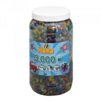 Cubo 13.000 piezas Hama Midi Mix 53 (Colores Translúcidos)