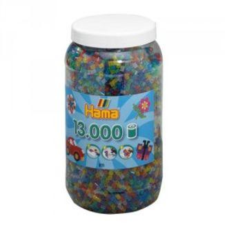 Cubo 13.000 piezas Hama Midi Mix 54 (Colores Translúcidos con purpurina)