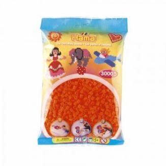 Bolsa de Hama midi naranja fluorescente de 3000 piezas