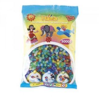 Bolsa de Hama midi mix/mezcla de tonos transparentes con purpurina de 3000 piezas