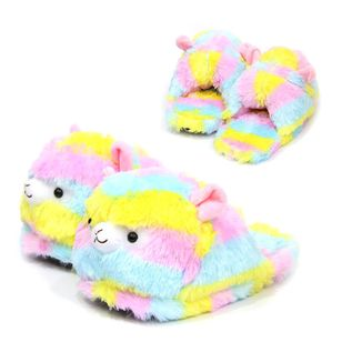 Rainbow Alpaca Slippers