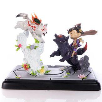 Chibiterasu vs. Dark Chibiterasu & Possessed Kuni Statue Okamiden