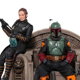 Estatua Boba Fett y Fennec on Throne Star Wars The Mandalorian Deluxe Art Scale