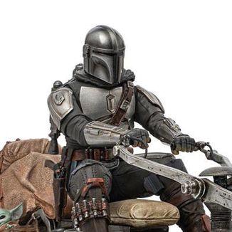 Mandalorian on Speederbike Statue Star Wars The Mandalorian Deluxe Art Scale