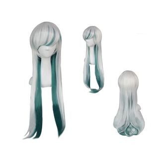 Green and White Mix Wig