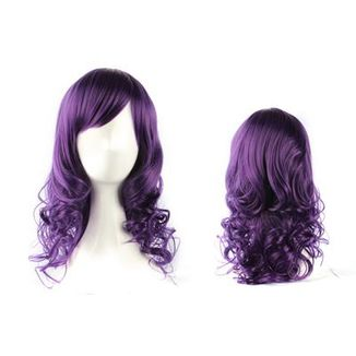 Purple Curly Medium Wig