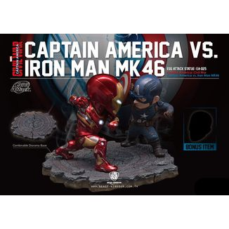 Estatua Iron Man vs Capitan America Civil War Marvel Egg Attack