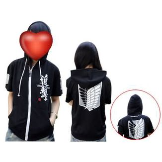 Survey Corps Black Short Sleeve Hoodie Attack on Titan