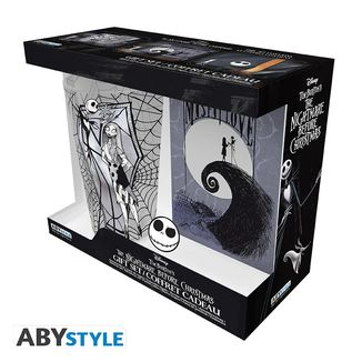 Gift Pack Glass + Pin + Notebook Jack Skellington Nightmare before Christmas