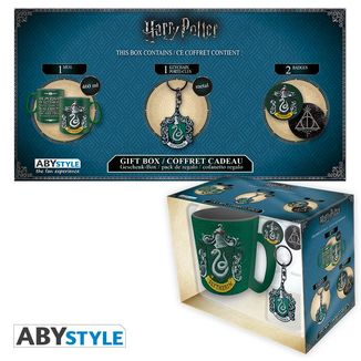 Slytherin Mug, Keychain and Badges Harry Potter