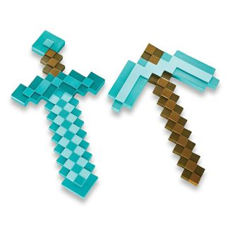 Diamond Pickaxe and Sword Replica Minecraft Set