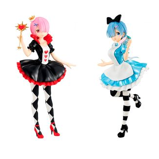 Figuras Rem y Ram In Wonderland Set Re:Zero