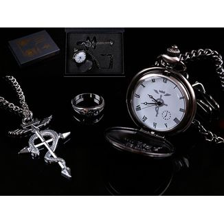Pocket Watch + Fullmetal Alchemist Necklace Set