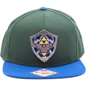 Bioworld Zelda Metal Hylian Shield Green Snapback Cap