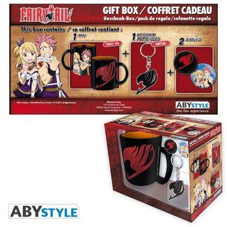 Pack Taza, llavero y chapas Fairy Tail Natsu y Lucy