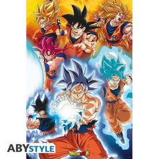 Poster Transformaciones de Goku Dragon Ball Super  91.5 x 61 cms