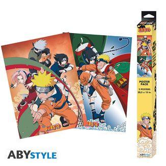 Poster Equipo 7 y Enfrentamiento Naruto vs Sasuke set Naruto 52 x 38 cms