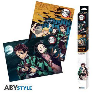 Demon Hunters Kimetsu No Yaiba Poster Set 52 x 38 cms