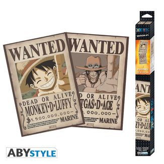Luffy & Ace Wanted One Piece Poster Set 52 x 35 cms