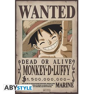 One Piece Poster Luffy Wanted 52 x 35 cms