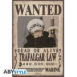 Poster One Piece Trafalgar Law Wanted 52 x 35 cms